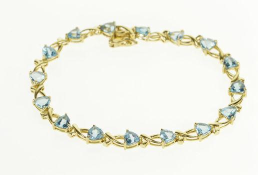 "Starts @ Cost - 10K Trillion Blue Topaz Criss Cross Link Yellow Gold Bracelet 6.75"""