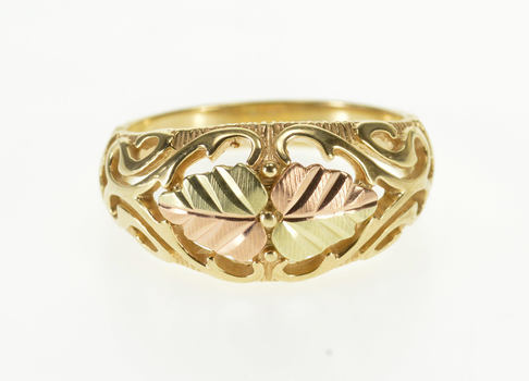 Starts @ Cost - 10K Two Tone Black Hills Leaf Scroll Swirl Domed Yellow Gold Ring, Size 7.75