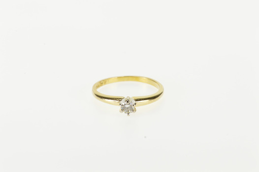 Starts @ Cost - 14K 0.12 Ctw Diamond Solitaire Round Engagement Yellow Gold Ring, Size 4