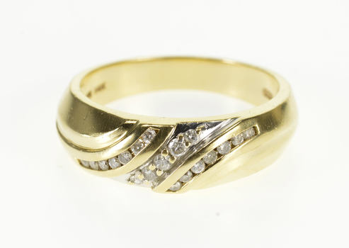 Starts @ Cost - 14K 0.25 Ctw Diamond Channel Inset Men's Wedding Yellow Gold Ring, Size 10.25