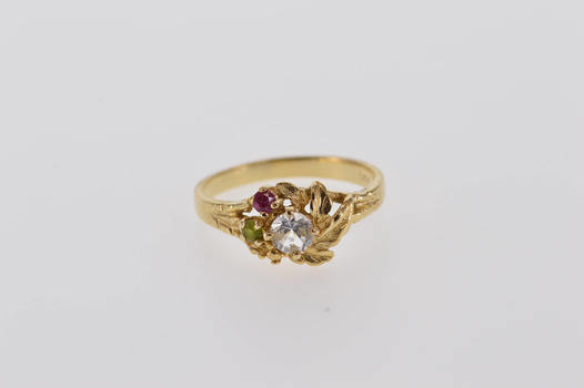 Starts @ Cost - 14K 0.30 Ctw Spinel Cluster Leaf Vine Nature Motif Yellow Gold Ring, Size 6