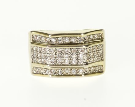 Starts @ Cost - 14K 1.30 Ctw Cubic Zirconia Encrusted Men's Yellow Gold Ring, Size 10.75