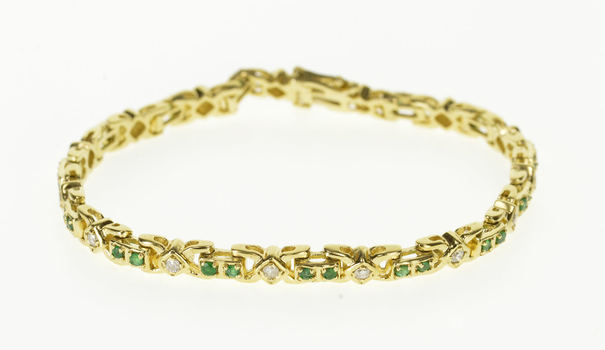 Starts @ Cost - 14K 1.35 Ctw Natural Emerald Diamond Tennis Yellow Gold Bracelet 6.75""