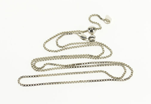 """Starts @ Cost - 14K 1.3mm Square Chain Box Link Fancy White Gold Necklace 18.9"""""""