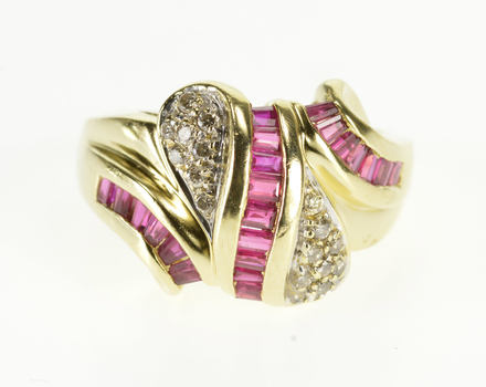 Starts @ Cost - 14K 1.42 Ctw Ruby Diamond Wavy Ornate Band Yellow Gold Ring, Size 5.75