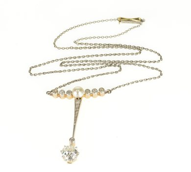 """Starts @ Cost - 14K 1.55 Ctw Diamond 5mm Natural Pearl Edwardian Yellow Gold Necklace 17.5"""""""
