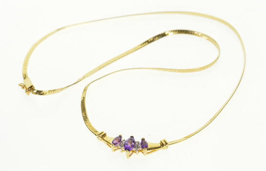 """Starts @ Cost - 14K Amethyst Marquise Diamond Accented Herringbone Yellow Gold Necklace 17"""""""