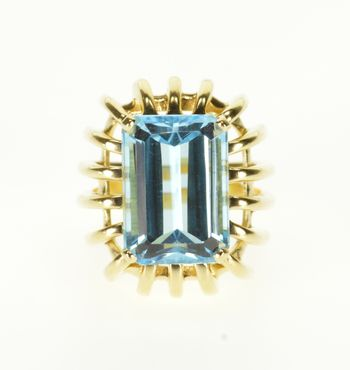 Starts @ Cost - 14K Blue Topaz Emerald Cut Banded Cage Statement Yellow Gold Ring, Size 5.5