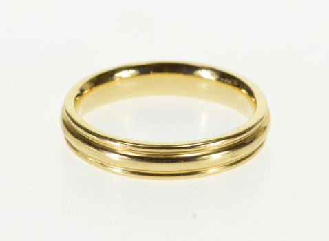 Starts @ Cost - 14K Channeled Rounded Grooved Design Wedding Band Yellow Gold Ring, Size 9.75