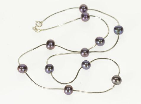 "Starts @ Cost - 14K Dark Purple Pearl Beaded Cascade Square Chain White Gold Necklace 16.5"""