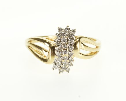 Starts @ Cost - 14K Diamond Encrusted Cluster Wavy Curvy Design Yellow Gold Ring, Size 8.75
