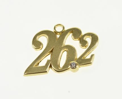 Starts @ Cost - 14K Diamond Inset Marathon Number 26.2 Mile Yellow Gold Pendant