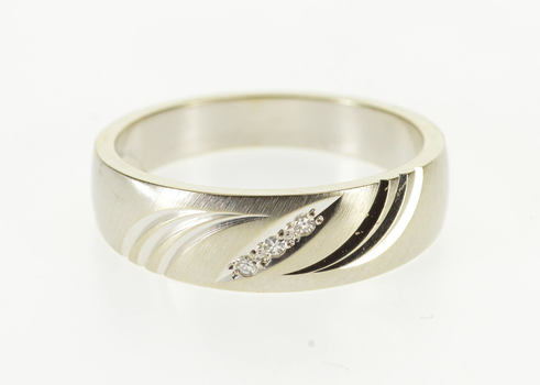 Starts @ Cost - 14K Grooved Wave Design Diamond Inset Men's Band White Gold Ring, Size 10.75