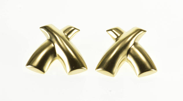 Starts @ Cost - 14K High Relief X Criss Cross Post Back Yellow Gold EarRings