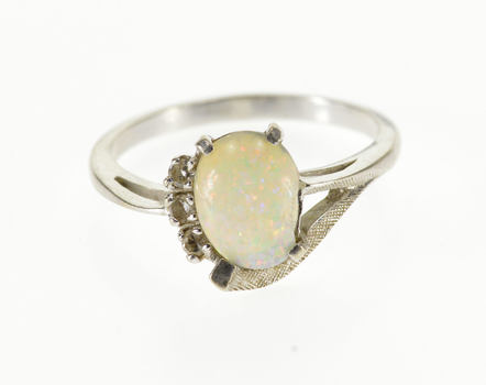 Starts @ Cost - 14K Opal* Diamond Semi Halo Retro Textured White Gold Ring, Size 6.5