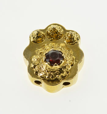 Starts @ Cost - 14K Ornate Garnet Nautilus Slide Bracelet Yellow Gold Charm/Pendant