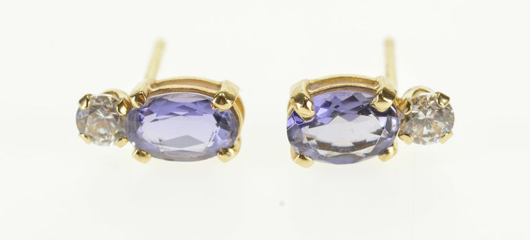 Starts @ Cost - 14K Oval Cut Amethyst Cubic Zirconia Accent Post Back Yellow Gold EarRings
