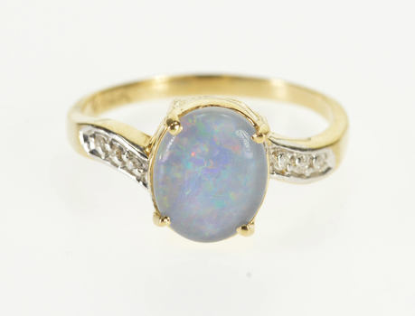 Starts @ Cost - 14K Oval Opal* Diamond Accent Wavy Freeform Yellow Gold Ring, Size 7.75