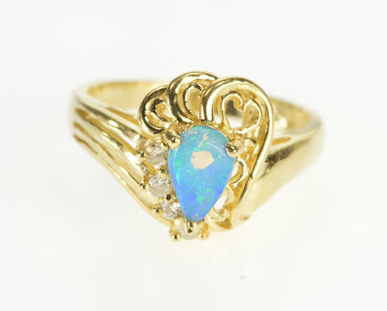 Starts @ Cost - 14K Pear Opal* Diamond Accent Scroll Heart Wavy Yellow Gold Ring, Size 7.75