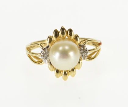 Starts @ Cost - 14K Pearl Diamond Accented Grooved Scallop Halo Yellow Gold Ring, Size 6.5