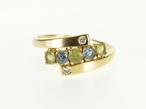 Starts @ Cost - 14K Peridot Blue Topaz Diamond Inset Bypass Yellow Gold Ring, Size 7