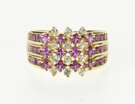 Starts @ Cost - 14K Pink Sapphire* Cubic Zirconia Tiered Cluster Yellow Gold Ring, Size 6.75