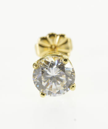 Starts @ Cost - 14K Round Cubic Zirconia Single Solitaire Stud Yellow Gold EarRing
