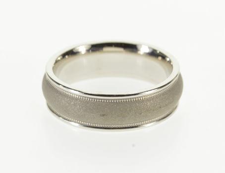 Starts @ Cost - 14K Rounded Satin Finish Dot Trim Wedding Band White Gold Ring, Size 6.25
