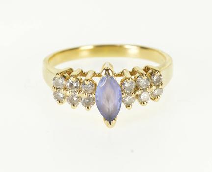 Starts @ Cost - 14K Tanzanite Marquise Diamond Encrusted Statement Yellow Gold Ring, Size 8