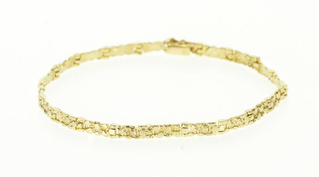 """Starts @ Cost - 14K Textured Nugget Abstract Pattern Squared Link Yellow Gold Bracelet 7"""""""
