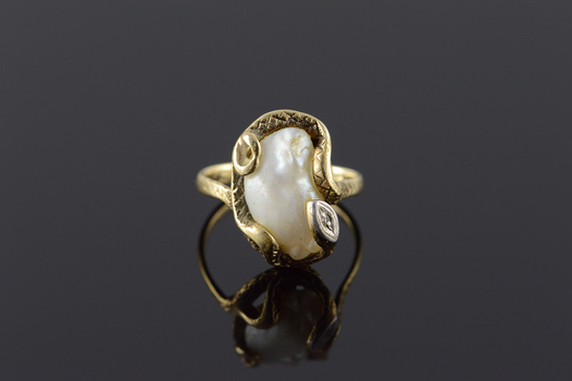 Starts @ Cost - 14K Victorian Egyptian Revival Snake Wrapped Pearl Yellow Gold Ring, Size 5