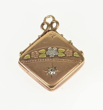 Starts @ Cost - 8K 0.18 CT Edwardian Diamond Three Tone Locket Yellow Gold Pendant