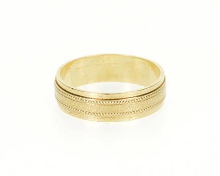 Starts @ Cost - 9K Grooved Patterned Dot Trim Wedding Band Yellow Gold Ring, Size 5.75