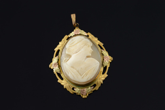 Starts @ Cost - Base metal Tri Color Carved Cameo Woman Pendant