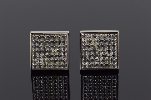 Starts @ Cost - Base Metal Zenga Rhinestone Accented Square Face Fancy Cuff Links