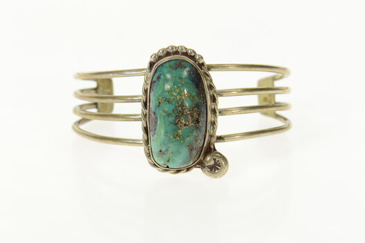 """Sterling Native American Turquoise Ornate Cuff Bracelet 6.25"""""""