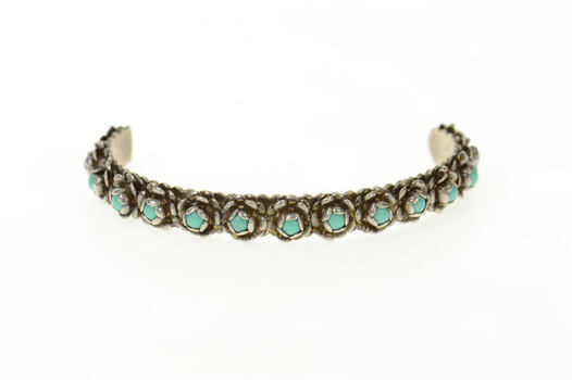 """Sterling Ornate Turquoise Floral Native American Cuff Bracelet 6.5"""""""