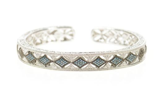 "Sterling Silver 0.33 Ctw Ornate Blue Diamond Elaborate Cuff Bracelet 7"""