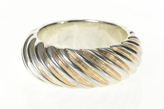 """Sterling Silver 29.5mm Grooved Puffy Twist Bangle Statement Bracelet 7.75"""""""