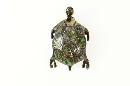 Sterling Silver Abalone Inlay Ornate Turtle Tortoise Pin/Brooch