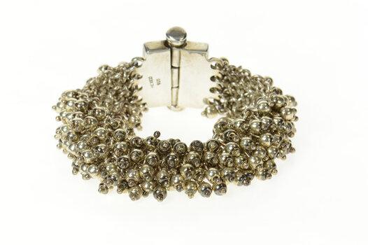 """Sterling Silver Ball Beaded Fringe Ornate Statement Chain Bracelet 7.5"""""""