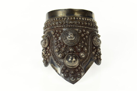 "Sterling Silver Elaborate Thai Sleeve Cuff Statement Ornate Bracelet 7.5"""