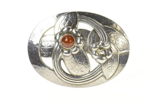 Sterling Silver Georg Jensen Ornate Oval Carnelian Elaborate 13 Pin/Brooch