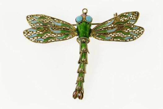 Sterling Silver Green Blue Enamel Dragonfly Ornate Filigree Pin/Brooch