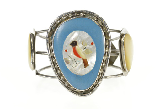 """Sterling Silver Mother of Pearl Robin Bird Inlay Cuff Bracelet 6.75"""""""