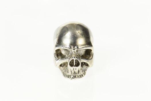 Sterling Silver Ornate 3D Human Skull Punk Goth Rocker Ring, Size 2