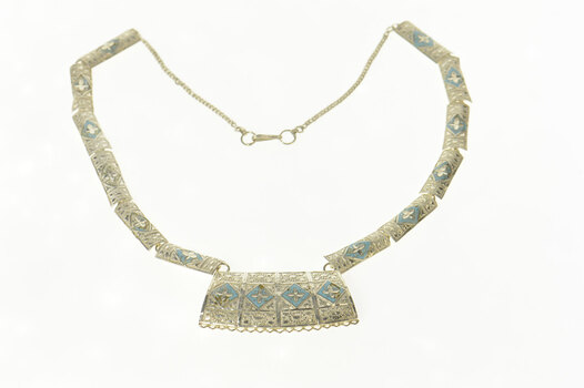 "Sterling Silver Ornate Enamel Squared Floral Pattern Necklace 18.5"""