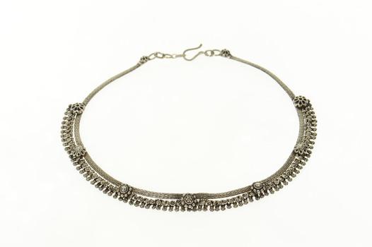 """Sterling Silver Ornate Tibetan Fringe Statement Collar Necklace 15.75"""""""