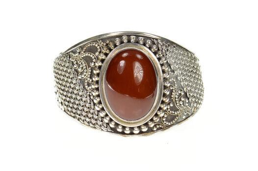 """Sterling Silver Oval Carnelian Ornate Woven Statement Cuff Bracelet 7"""""""
