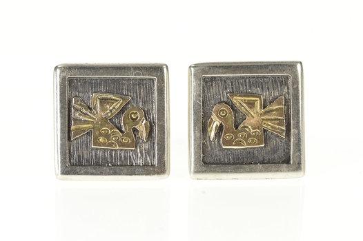 Sterling Silver Peruvian Stylized Bird Squared Men's Cuff Links